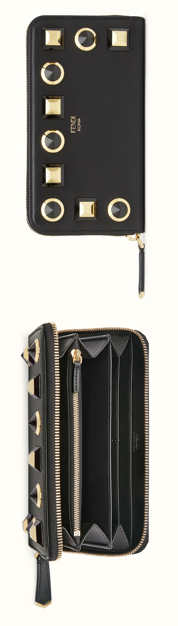 FENDI WALLET - Studded black leather zip-around