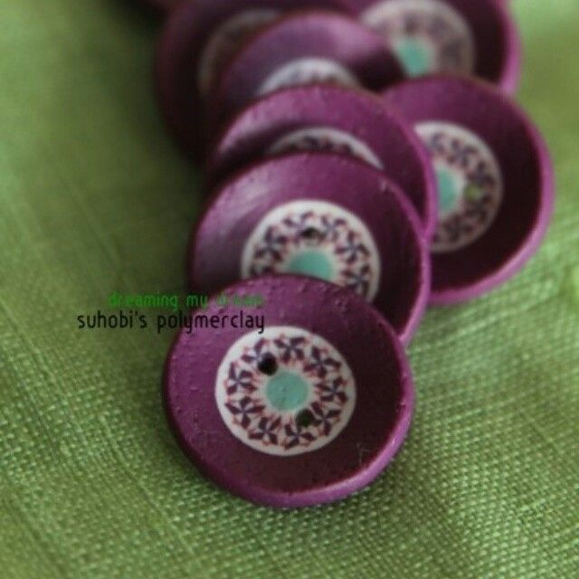 Lavender field polymerclay buttons