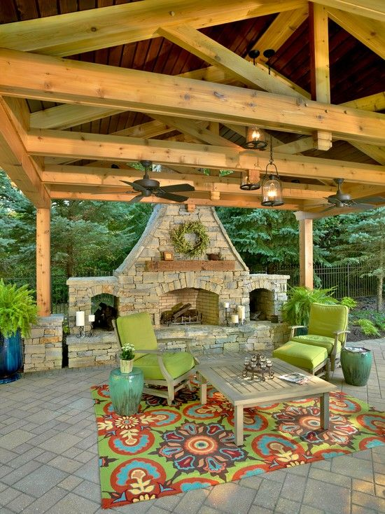 perfect back porch - tile, rug, fire, fans, covered. And cheerful.