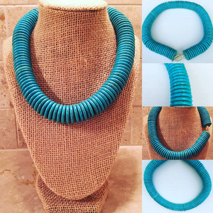 Turquoise Howlite Rondelle Necklace #cameroneubanks #southerncharm