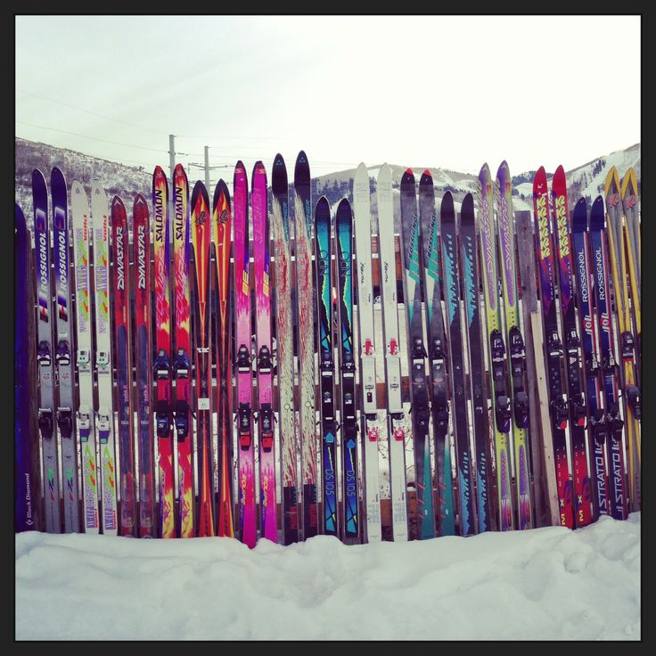 """Ski"" fence in Park City, Utah.  So fun and colorful!"