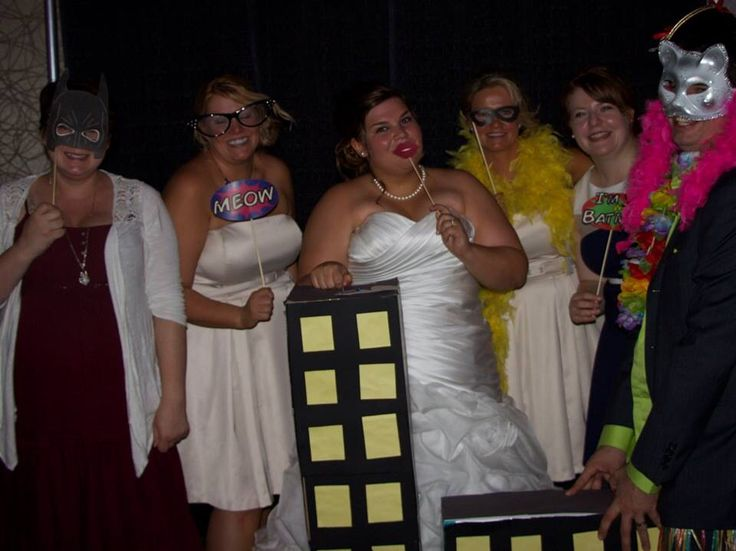 Geek photo booth with the bride