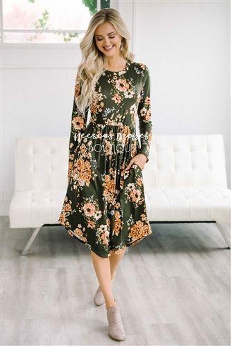 fbda7f4c516 Gold Olive Floral Pocket Dress