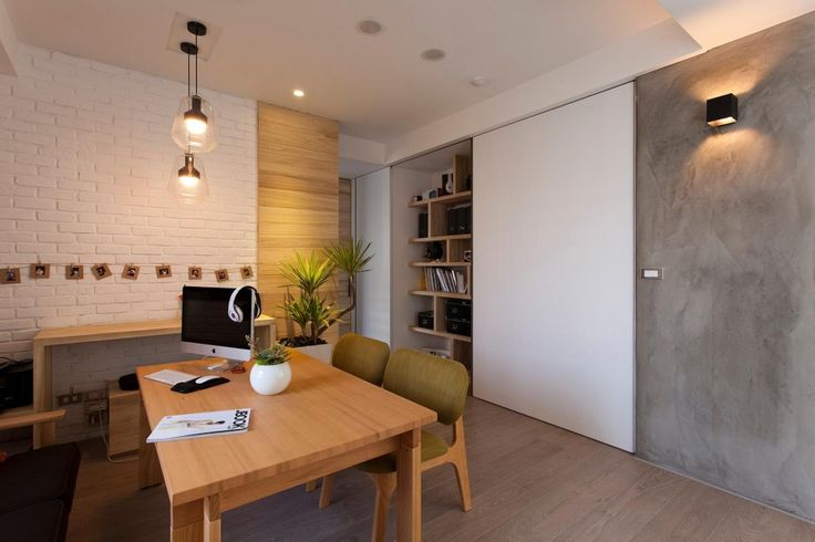 [Apartments] : Minimalist Design Idea For Dining Room Contemporary Apartment With Simple Design Decoration And Little Appliances For Small Apartment Completed With Wooden Wall Bookshelves Wooden Dining Table Wooden Laminate Flooring