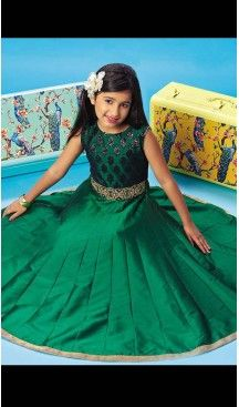 Emerald Color Silk A-line Style Party Wear Kids Frock Dress | FH519678924 #girls , #dress , #anarkali , #lehenga , #party , #gowns , #designer , #fashion , #boutique, #baby , #teenagers , #cloth , #readymade , #salwar , #kameez , #wear , #heenastyle , #online , @heenastyle , #ashin , #indian , #dupatta , #churidar , #ethnic