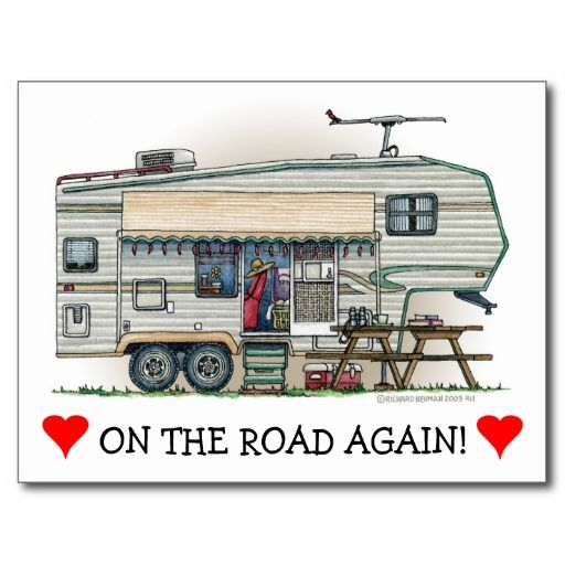Cute RV Vintage Fifth Wheel Camper Travel Trailer Postcard