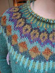 """Gemini"" Pullover  <  A Modification knit  (SW:  Steek as cardigan)  /  LK"