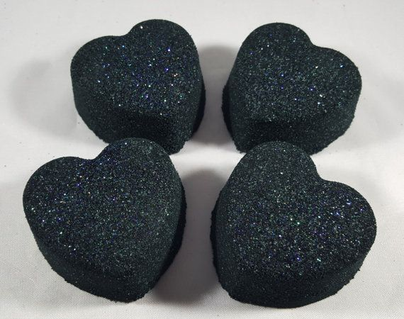 Black Widow Witches Brew Scented Sparkly Heart Halloween Bath Bombs!  HOW TO USE: Run a warm bath, drop a bath bomb in the water (or break into