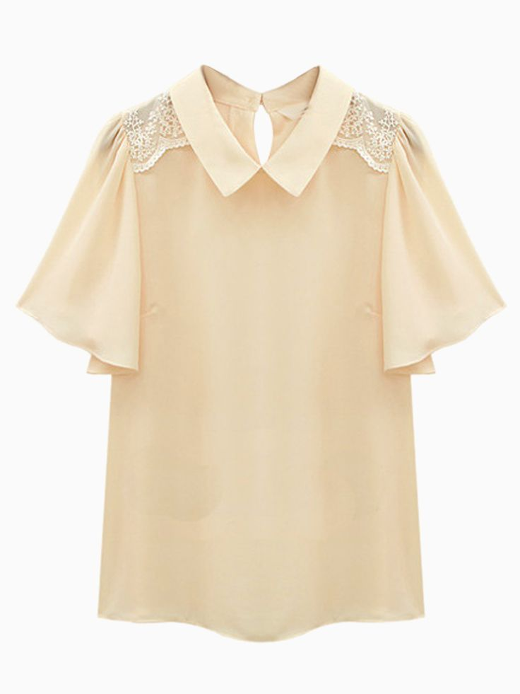 Beige Ruffle Sleeve Chiffon Shirt with Lace Shoulder Detail | Choies