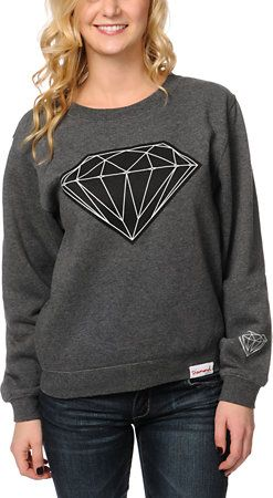 Diamond Supply Co Girls Big Brilliant Charcoal Crew Neck Sweatshirt at Zumiez : PDP
