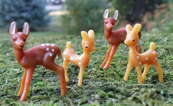 Fairy Garden Deer – Miniature Fairy Garden Animals TINY Mini Deer, Doe & Fawn – Enchanted Acorn Products