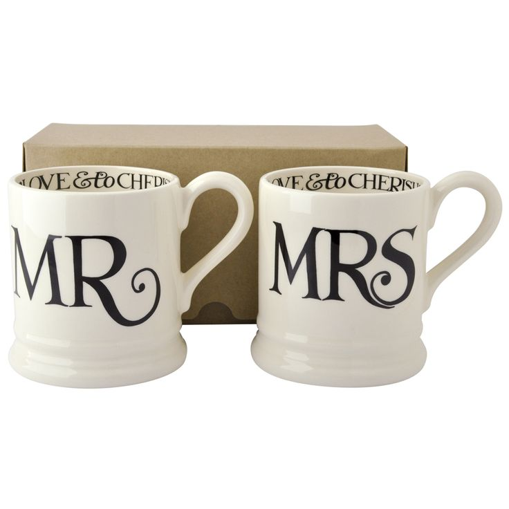 Black Toast EMMA BRIDGEWATER, Mr & Mrs, 1/2 Pint Mugs, January 2015