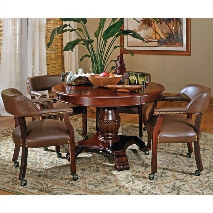 Steve Silver 5 Piece Tournament Dining Game Table Set With Caster Chairs    Cherry Brown   Durable