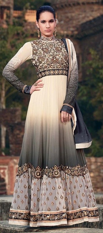 410441, Anarkali Suits, Georgette, Stone, Kasab, Thread, Machine Embroidery, Black and Grey, White and Off White Color Family