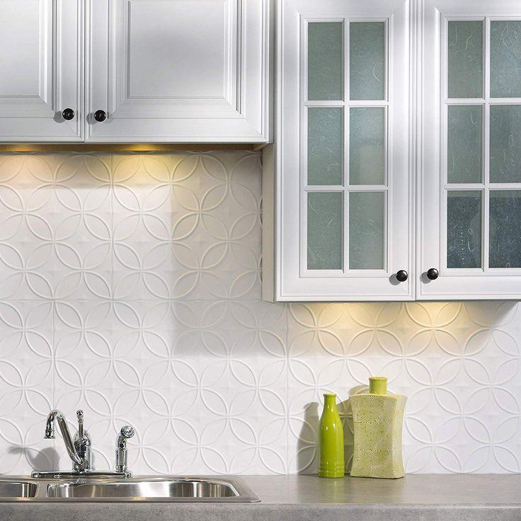 Fasade Easy Installation Backsplash 18inx24in Rings Matte White Backsplash Panel For Kitchen And Bathr Backsplash Panels Decorative Backsplash Vinyl Backsplash