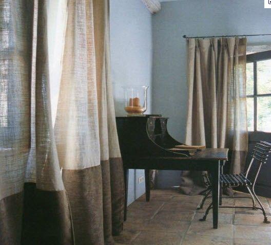 Linen Curtains. Bedroom. Rustic