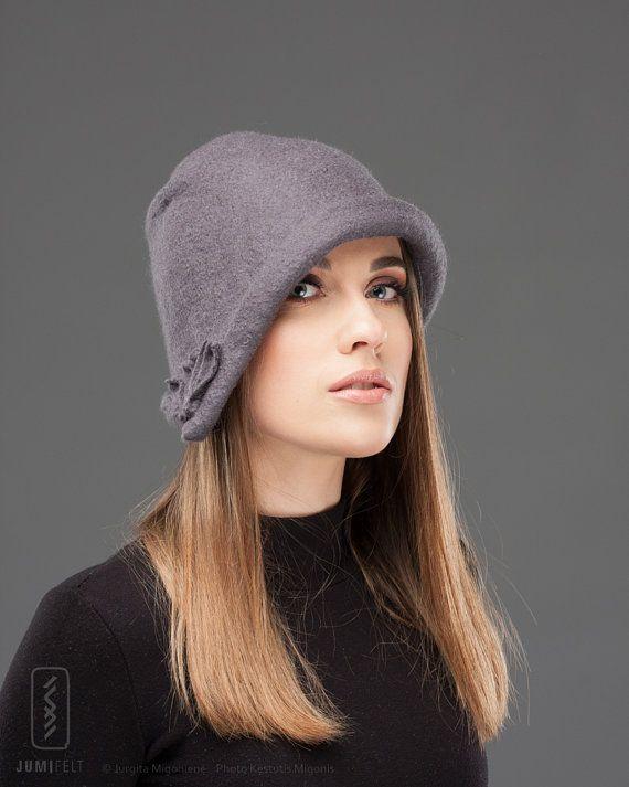 Felt Hat Cloche - Grey wool hat - Felted - Merino wool hat - Soft Wool Warm Headpiece