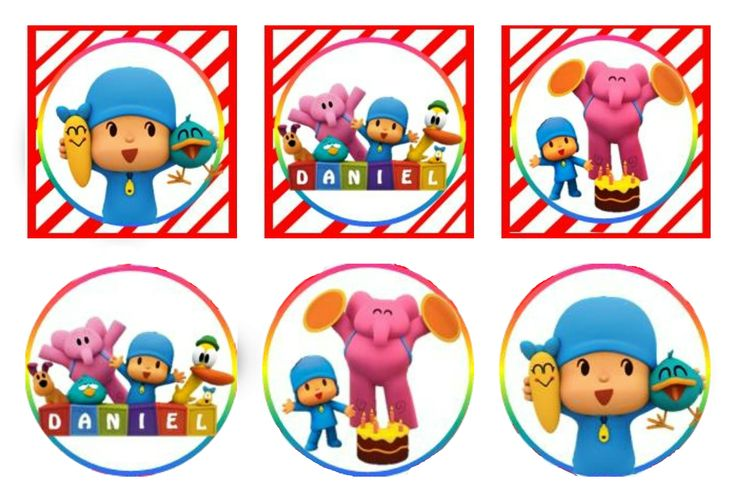 "Etiquetas Fiesta Pocoyo!! Cupcake toppers de 2"" pulgadas, 5 Cm, para utilizar cuadrados o redondos."