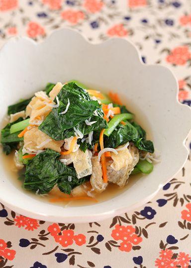 小松菜と油揚げのじゃこ煮 のレシピ・作り方 │ABCクッキングスタジオのレシピ | 料理教室・スクールならABCクッキングスタジオ