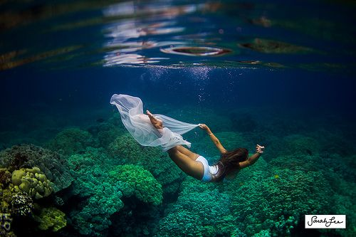kalia dancing under the sea.  underwater, fabric underwater, underwater model, coral reef