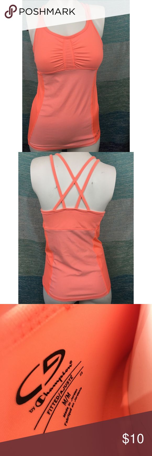 Champion Orange Strappy Workout Tank Top Shirt Excellent used condition, without flaws. Built in bra. Cute Strappy back. Champion Tops Tank Tops