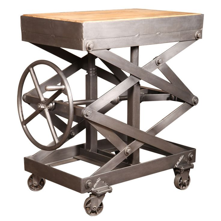 Industrial Style Lift Top Coffee Table: Original Vintage Industrial, American Made Scissor Lift