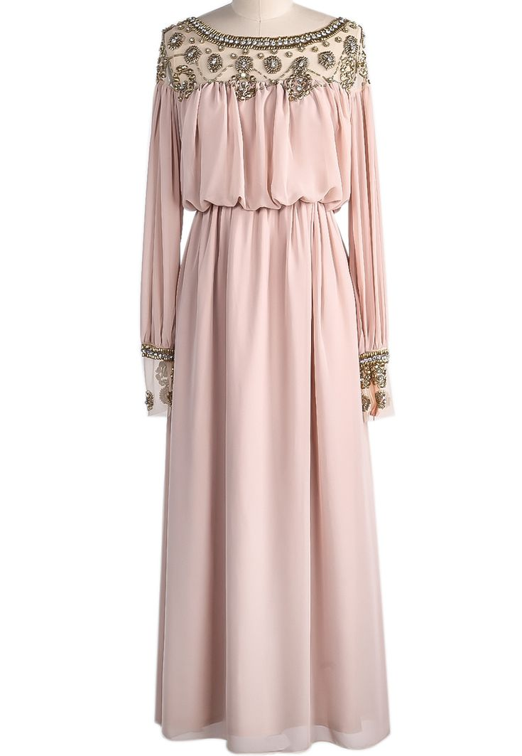 Apricot Long Sleeve Bead Pleated Chiffon Dress US$55.90