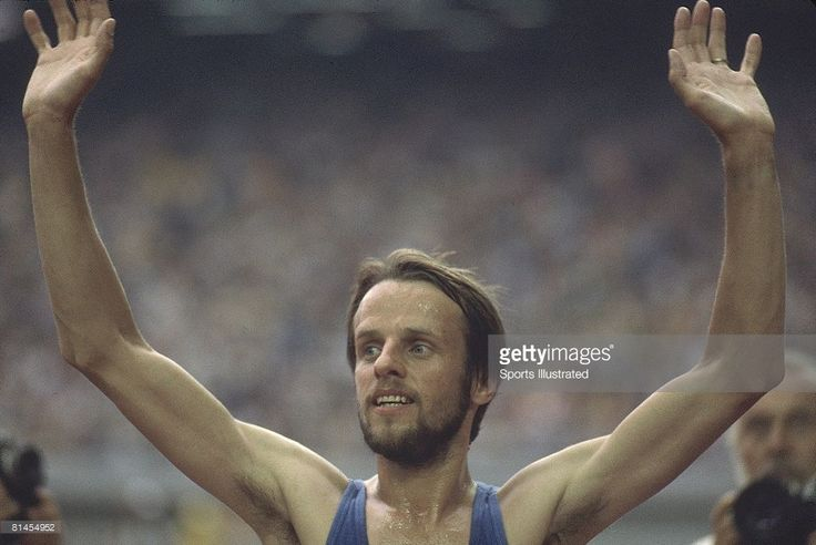 1976 Summer Olympics, Closeup of FIN Lasse Viren victorious after 5000M race, Montreal, CAN 7/17/1976--7/31/1976