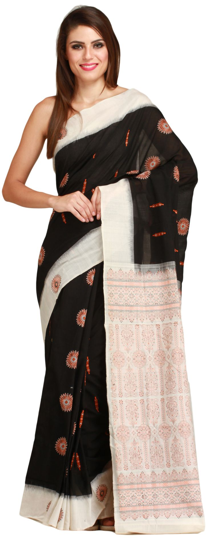 Black and Ivory Bomkai Sari from Orissa with Woven Chakras All-Over