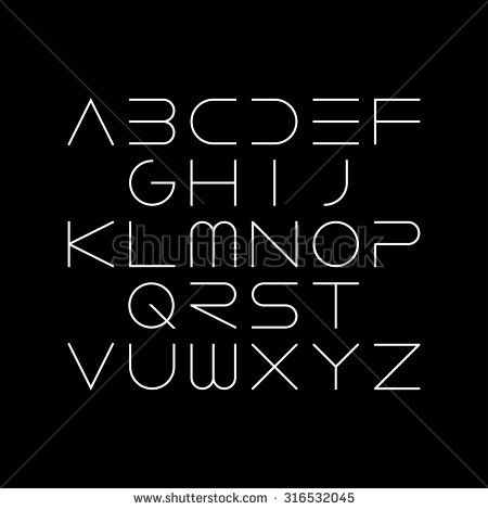 Thin font. Futuristic font. Cosmic Font. Vector alphabet set. Elegant light font. Minimal. Latin alphabet letters. Hipster font, typeface, typography, typewriter.