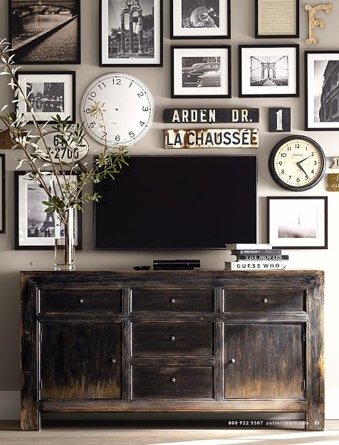 About to install a flat screen TV in our home office--already have clocks, street signs and love black and white or sepia photos in black frames with white mats...can turn any photo into sepia tone or black and white with scanner. Yes! Great! (self-talk---slj)