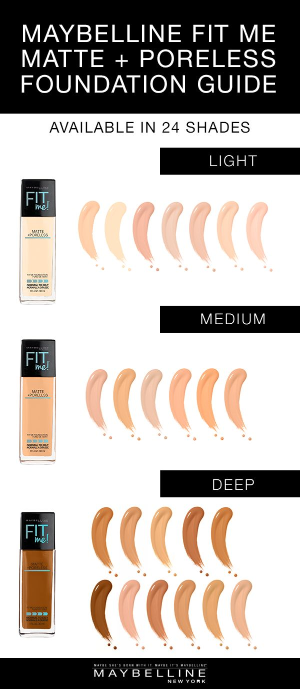 Maybelline Fit Me Matte + Poreless Foundation has 24 shades to choose from to ensure your perfect foundation match!  It covers the fairest complexions to deep complexions with gorgeous, seamless coverage. This foundation mattifies and refines pores to leave a natural, seamless finish.