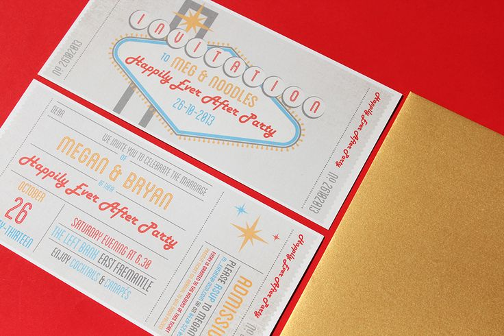 Las Vegas and gig ticket inspired wedding stationery