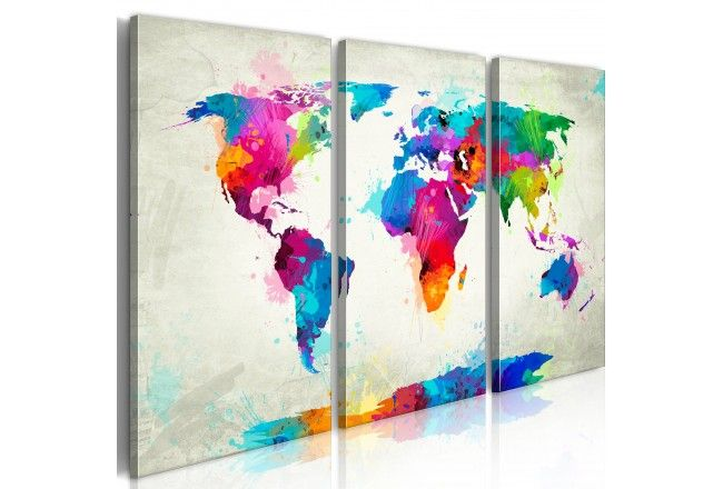 Tableau design Map of the world - an explosion of colors (triptych) 55458