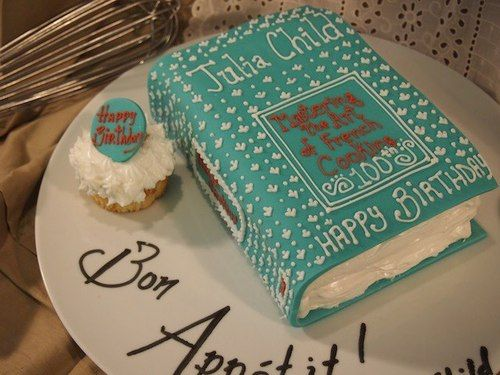 """Awesome Julia Child themed cake! """"Mastering the Art of French Cooking"""" never looked so tasty."""