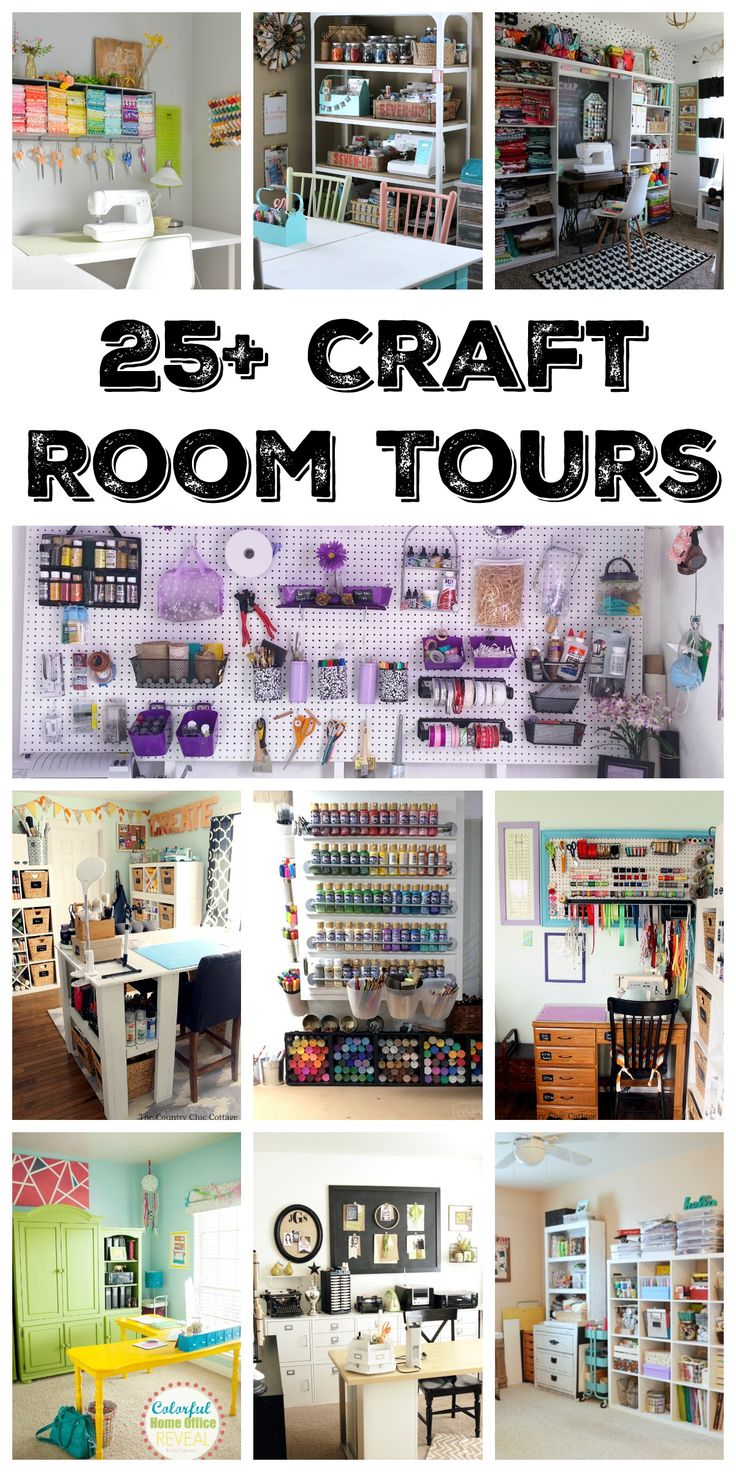 Over 25 amazing craft room tours! Get inspired to create your own craft studio with these organized craft rooms!