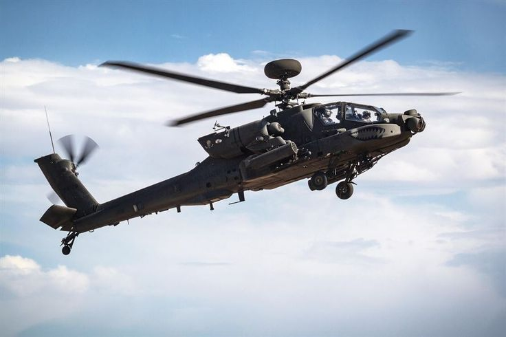 An AH-64E Apache helicopter fly's overhead before landing at Orchard Combat Training Center, Idaho, Sept. 29, 2016. Army photo by Capt. Brian Harris