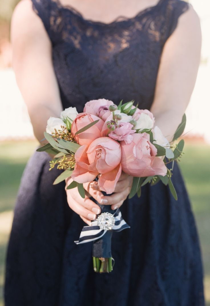 pink peony bouquet with navy striped ribbon accent // photo by Jordan Weiland Photography