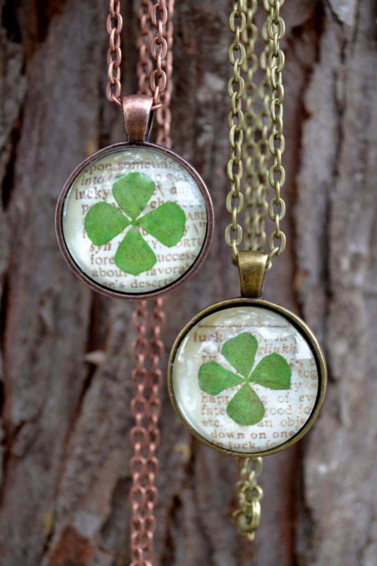 Green lucky shamrock necklace four leaf clover charm emerald green - Lucky 4 Leaf Clover Pendant Necklace 20 00 Via Etsy