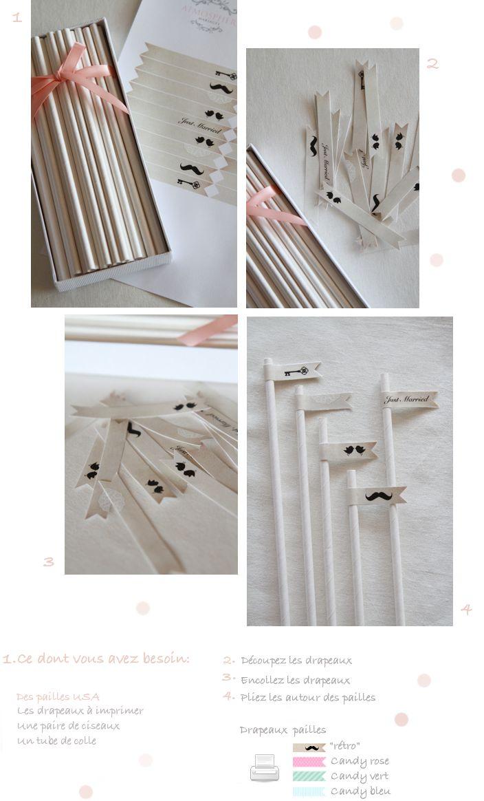 Free printables / drapeaux-fanions pour pailles ou cake toppers