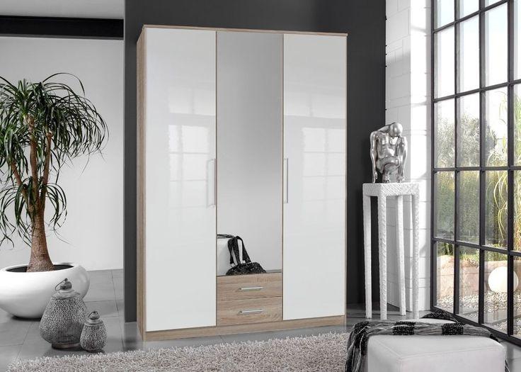 Kleiderschrank Hochglanz Weiß Eiche Sägerau 4911. Buy now at https ...