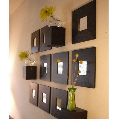 High Quality Malma Wall Mirrors Art Modern Design Mirror Wood Black Brown Square Decor