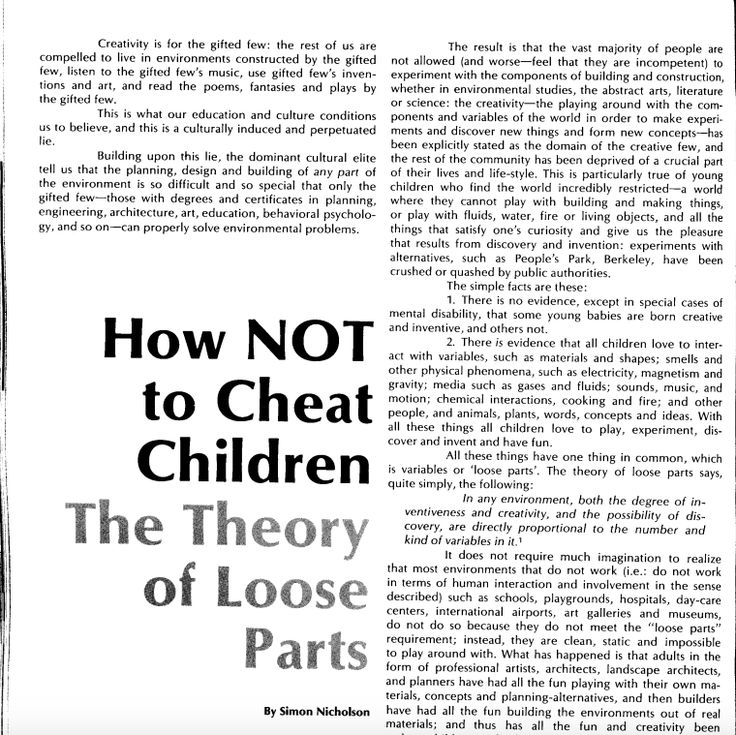 Loose parts theory article. Nicholson How Not to Cheat Children