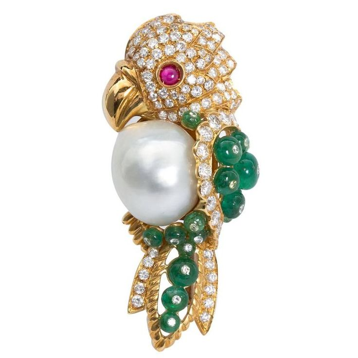 Semi-Baroque South Sea Cultured Pearl and Precious Gem Parrot Brooch | From a unique collection of vintage brooches at https://www.1stdibs.com/jewelry/brooches/brooches/