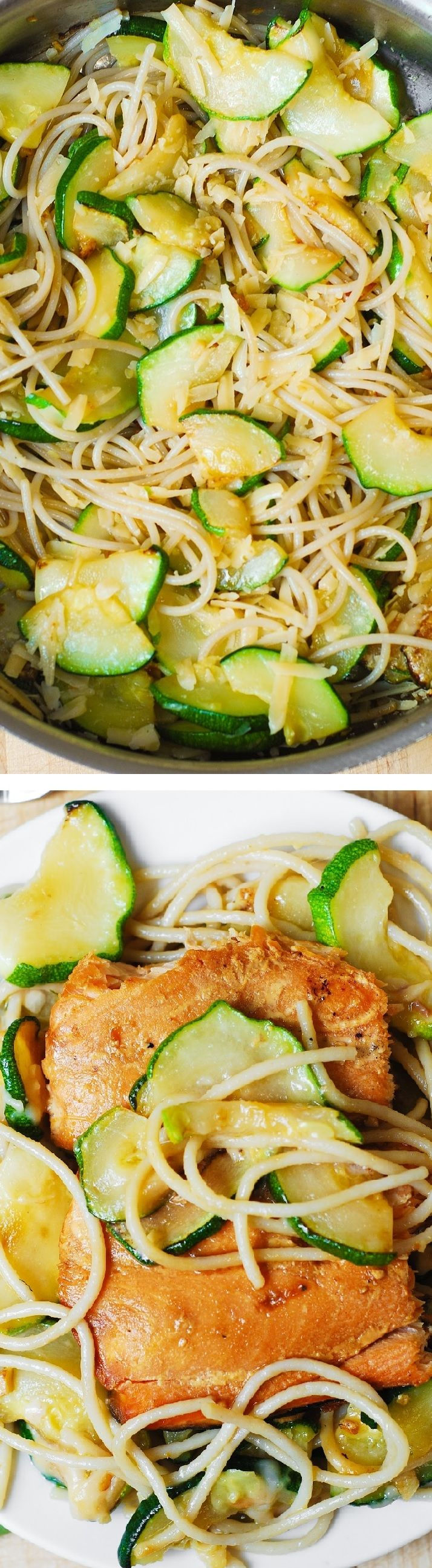 Salmon and Parmesan Zucchini Pasta (Spaghetti). Salmon fillets grilled in foil packets. Healthy dinner full of omega 3 oils!
