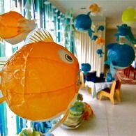 I have the smaller lanterns... maybe someone can find larger lanterns! This looks like it would be fun...: Ocean Theme, Birthday Parties, Paper Lanterns, Sea Parties, Beaches Parties, Lanterns Fish, Parties Ideas, Sea Theme, Coral Reefs