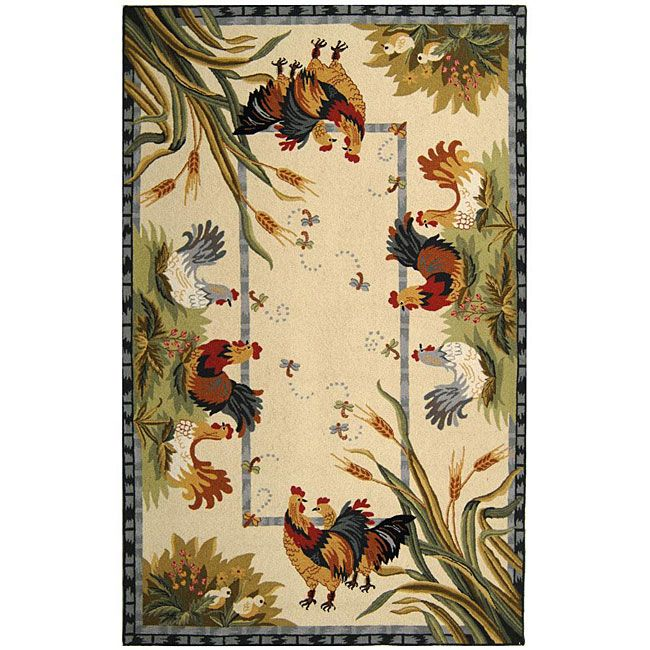 Safavieh Hand-hooked Roosters Ivory Wool Rug (5'3 x 8'3) (Cotton, Animal)