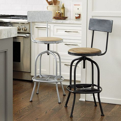 "Allen Stool with Back Rest. Overall: 40""- 44 1/2""H X 15""W X 17 3/4""D Seat: 26""- 30 1/2""H X 14"" Diameter"
