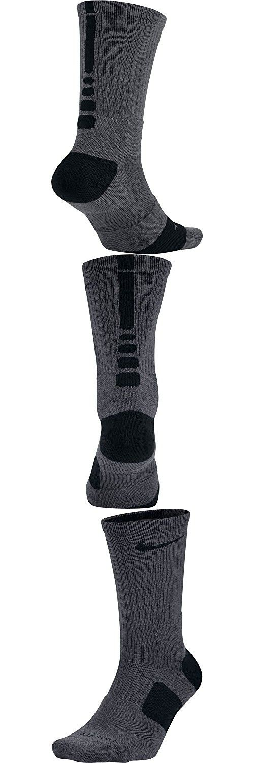 Nike Elite Basketball Crew Socks (SM (Women's Shoe 4-6), DARK GREY/BLACK/BLACK)