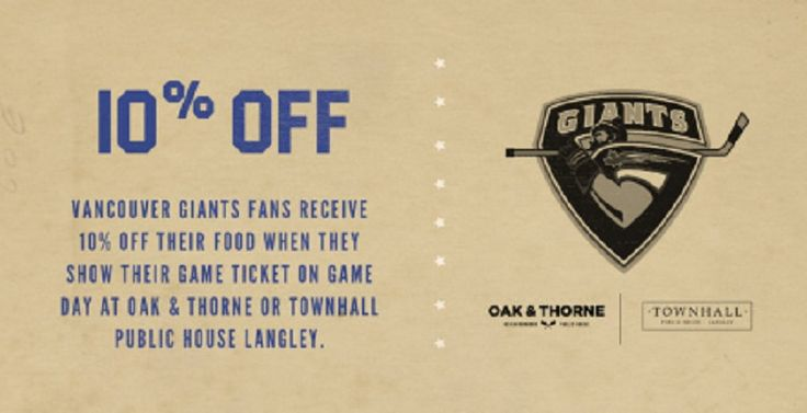 Vancouver Giants Game Day Discount at Townhall Langley + Oak & Thorne